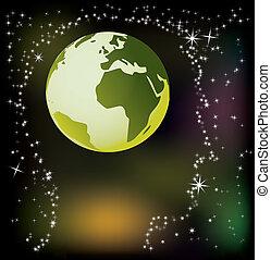 résumé, tête, -, globe, illustration