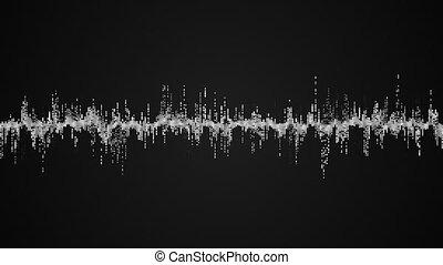 résumé, vague, arrière-plan noir, blanc, audio