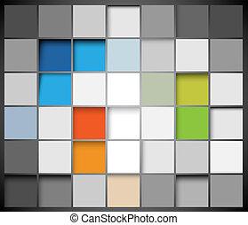 résumé, vecteur, carrés, fond
