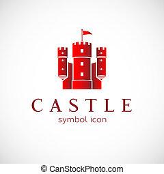 résumé, vecteur, château, icône