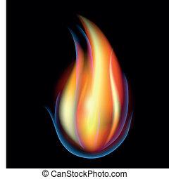 résumé, vecteur, flamme