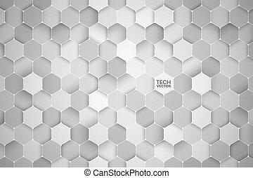 résumé, vecteur, fond, hexagonal, technologie, 3d
