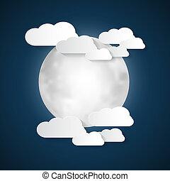 résumé, vecteur, nuages, lune