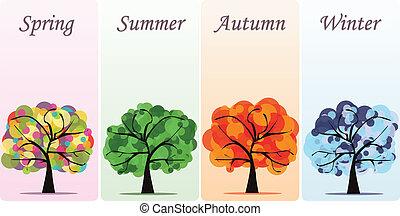 résumé, vecteur, saisonnier, arbres