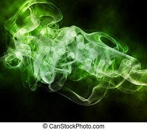 résumé, vert, fumée, fond