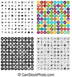 réunion, 100, ensemble, variante, icônes