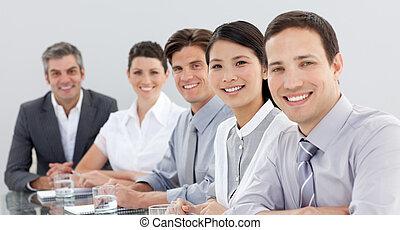 réunion, business, projection, groupe, diversité