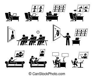 réunion ligne, maison, wfh, icons., ou, vidéo, travail, conférence