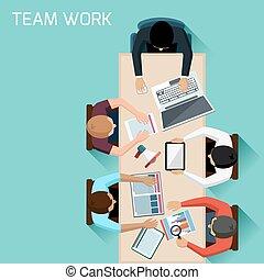 réunion, ouvriers, brain-storming, bureau