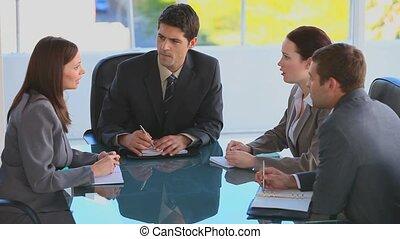 réunion, pendant, businessteam