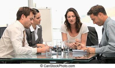 réunion, pendant, collaboration
