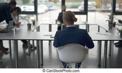 réunion, pendant, travail, ensemble, gens bureau, business