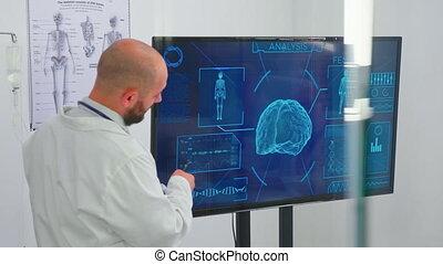 réunion, salle réunion, monde médical, gens, neurologue, tenue, docteur