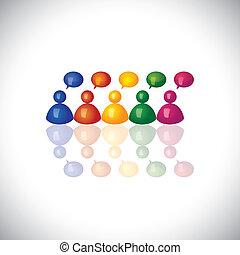 réunions bureau, cerveau, ceci, représenter, groupe, personnel, &, collaboration, graphic., storming, employés, vecteur, boîte, employé, coloré, airing, icônes, illustration, -, opinions, 3d, discussions, ou, bavarder, conversation