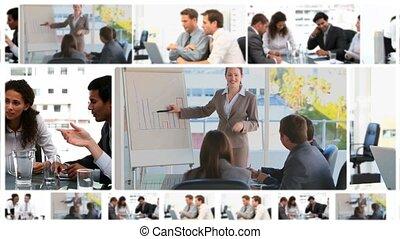 réunions, business, montage