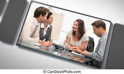 réunions, gens, pendant, montage, business