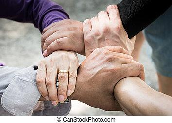 réunir, /teamwork, main, réunion, 4, constitué