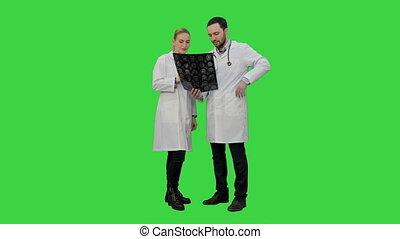 réussi, chroma, écran, xray, examiner, vert, résultat, médecins, opération, discuter, key.