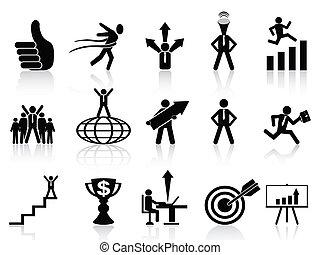 réussi, ensemble, icones affaires