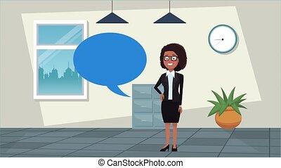 réussi, femme affaires, bureau, élégant, conversation