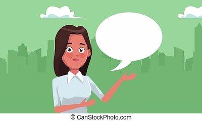réussi, femme affaires, caractère, élégant, conversation
