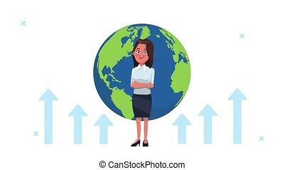 réussi, femme affaires, la terre, élégant, planète