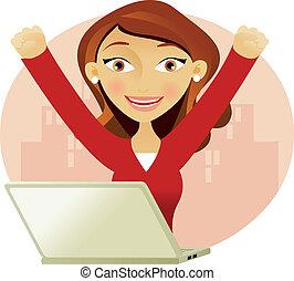 réussi, femme, ordinateur portable