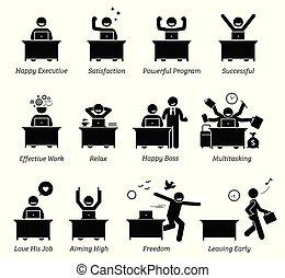 réussi, heureux, bureau fonctionnant, efficace, satisfait, cadre, ouvrier, workplace., works., apprécier