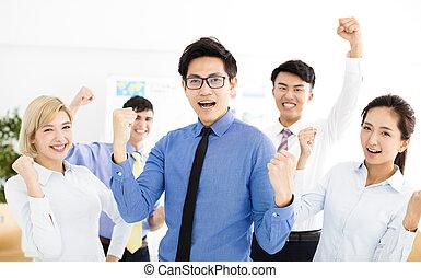 réussi, heureux, multiethnic, equipe affaires