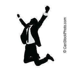 réussi, homme affaires, célébrer
