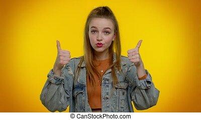 réussi, pouces, bon, approbation, veste, girl, jean, élégant, haut, travail, hocher, projection, adolescent
