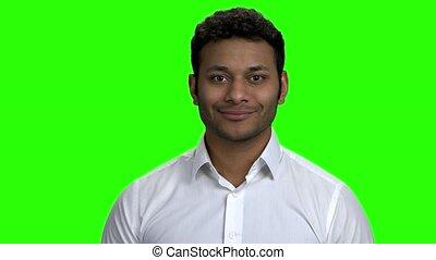 réussi, regarder, indien, appareil-photo., homme affaires