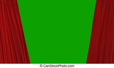 révéler, théâtral, ultra, rideaux, résumé, ouverture, matte., 4k, screen., onduler, tissu, animation, vert, hd, fond, alpha, fermer, soie, rouges, 3d