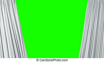 révéler, théâtral, ultra, rideaux, résumé, ouverture, matte., screen., onduler, tissu, animation, vert, 4k, fond, 3840x2160, alpha, blanc, soie, fermer, hd, 3d