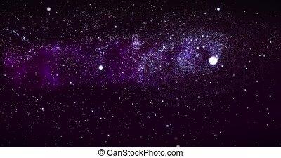 révéler, way., galaxie, étoile, champs, voler, espace, spirale, profond, rendre, rotation, animation, par, space., laiteux, nebulas, galaxie, 3d