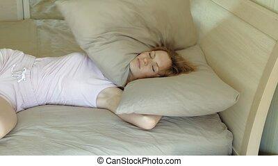 réveil, bed., morning., femmes