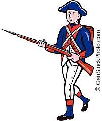 révolutionnaire, américain, marcher, dessin animé, soldat