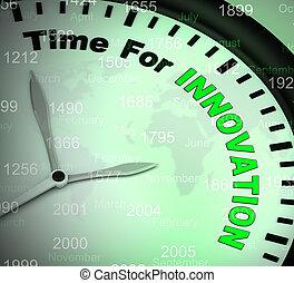 révolutionnaire, concept, icône, moyens, création, -, idées, illustration, temps, utilisation, 3d, innovation