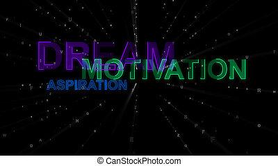 rêve, aspiration, concept, mots, motivation