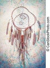 rêver preneur, spiri., indien, ornements, plumes