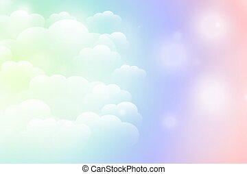 rêveur, couleurs, fond, magique, vibrant, nuages, brillant