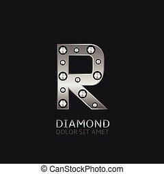 r, argent, lettre
