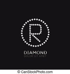 r, lettre, diamants