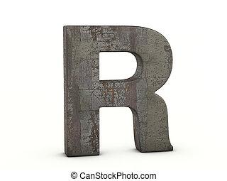 r, lettre, métal rouillé