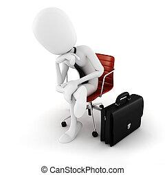 raboter, mouvement, séance, cadre, suivant, fond, blanc, homme, chaise, 3d