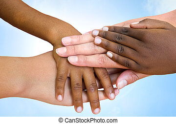 races, humain, hands., joindre