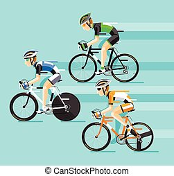 racing., route, vélo, homme, cyclistes, groupe