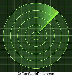radar, écran, vecteur
