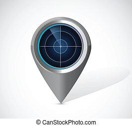 radar, conception, illustration, locator