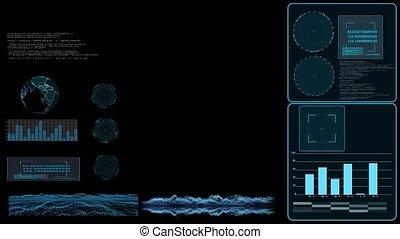 radar, surface, la terre, analyse, numérique, barre, moniteur, graphique, données, enquêter, graphique, carte, technologie